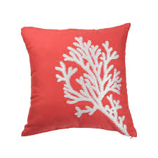nautical coral pillow cover coral embroidery orange linen
