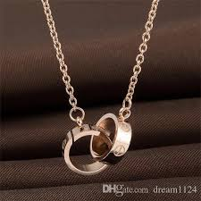 circle double necklace images Wholesale wholesale gold silver rose plated double rings pendant jpg