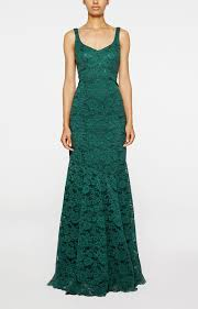 nicole miller v neck lace gown in green lyst