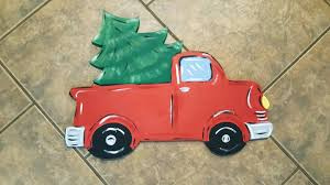 red christmas truck door hanger door decor christmas tree truck