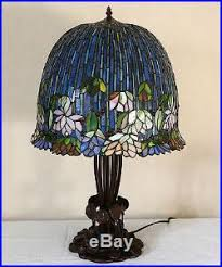 ebay stained glass ls metal base lotus water lily flower stained glass tiffany style table