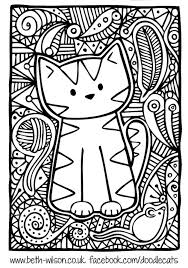 free coloring coloring difficult cute cat