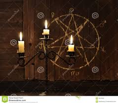 halloween street background candelabrum against pentagram background stock photo image 68248861