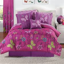 cheerful bedroom decor with purple pink butterfly comforter