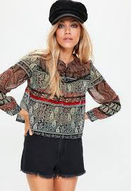 paisley blouse white high neck lace frill blouse missguided