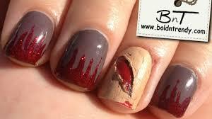 open wound halloween nail art tutorial e032 youtube
