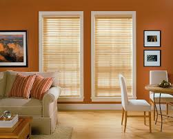 interior bay window design ideas with matchstick blinds also