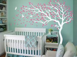 White Tree Wall Decal Nursery White Tree Wall Decal Corner Tree With Leaves And Birds