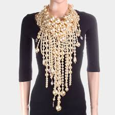 collar bib necklace images Multi layered chunky pearl fringe collar bib necklace angie davis jpg