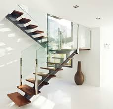 Glass Stair Banisters Contemporary Metal Staircase Wooden Floating Steps Glass Railing