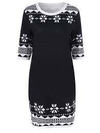 plus size snowflake print slimming dress in white and black xl