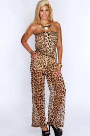 cheetah jumpsuit print strapless jumpsuit