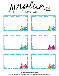 free printable airplane name tags with a blue border and colorful