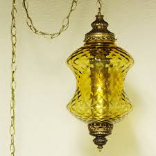 Swag Lighting Ideas by Light Craft Of California 1960 Brass Octagon Colored Glass Swag