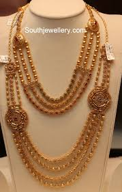 gold balls necklace and haram set jewellery designs