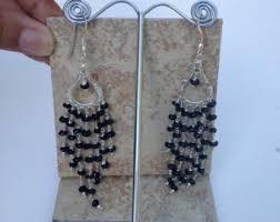 Black Bead Earrings Bronze Chandelier Black Chandelier Etsy