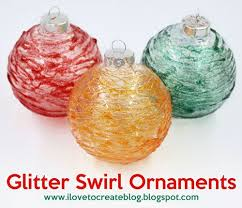 glitter swirl glass ornaments diy ilovetocreate
