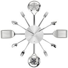 amazon com present time wall clock silverware steel utensils