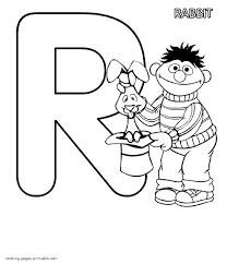 ernie and a rabbit coloring page the letter r