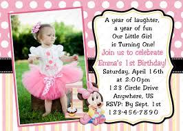 Sample Of 7th Birthday Invitation Card Free Minnie Mouse Invitations 1st Birthday Party Template Drevio