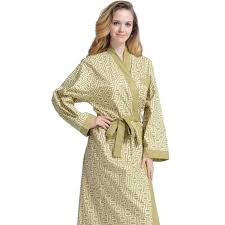 peignoir d eté coton col kimono jaune vert femme lepeignoir fr
