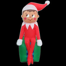 gemmy 3 5 ft led inflatable elf on present 35847 the home depot