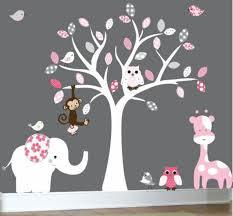 kinderzimmer grau rosa babyzimmer gestalten süße tier muster für ihre kleinen