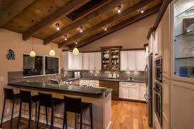 rustic country kitchen ideas under low ceiling white pendant lamps