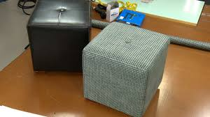 Diy Reupholster Ottoman by How To Recover An Ottoman Youtube