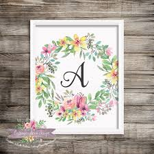 nursery monogram calligraphy initial a floral wreath letter 8x10