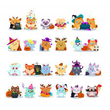 halloween clipart cute collection cute animals with halloween costumes collection vector free download