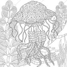 coloring pages jellyfish zentangle doodle coloring pages