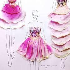 Real Rose Petals Fashion Designer Creates Gorgeous Illustrations With Real Flower