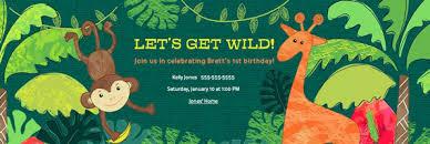jungle safari party evite