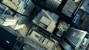 Modern City Aerial Overhead View Of Modern City Skyscraper Buildings Chicago