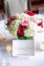 White Roses Centerpieces by Low And Lush Centerpiece With White Hydrangeas Pink Freesia