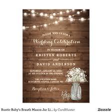 Rom Invitation Card Rustic Wood Baby U0027s Breath Mason Jar Wedding Invitations With