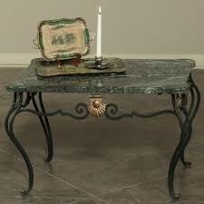 antique italian wrought iron marble top coffee table inessa