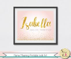 baby name meaning personalized print pink u0026 gold purple