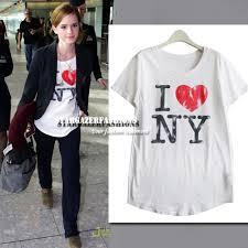 emma watson in u0027i love new york u0027 t shirt dress like a celebrity