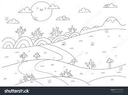 cute cartoon meadow mountain kids coloring stock vector 448639894