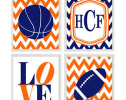 Sports Nursery Wall Decor Sports Nursery Wall Print Set Chevron Orange Navy Blue