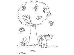 imagenes de mariposas faciles para dibujar para niños de un perro con árboles y mariposas para pintar