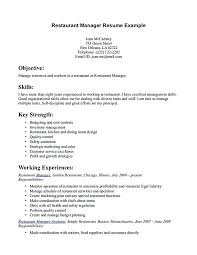 resume exles for restaurant restaurants manager resume resume for restaurant manager food