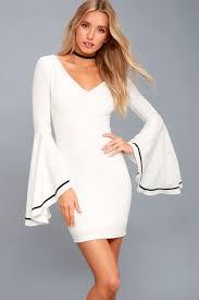 stunning white dress bell sleeve dress bodycon dress