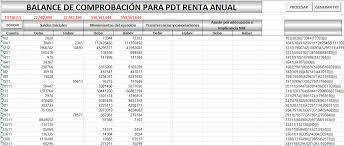 balance de comprobacion sunat pdt 0706 renta anual 2017 archivo excel