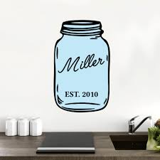 custom name mason jar printed wall decals wall decor stickers custom name mason jar printed wall decalls and stickers