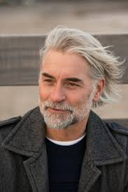 haircut for older balding men with gray hair mature man with long grey hair smiling men s hair styles