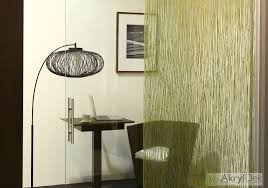 sliding door with organic green bamboo in resin translucent