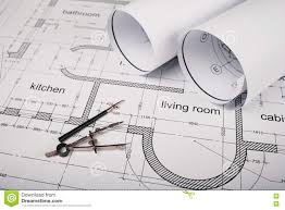 construction of the building plans and drawing tools stock photo